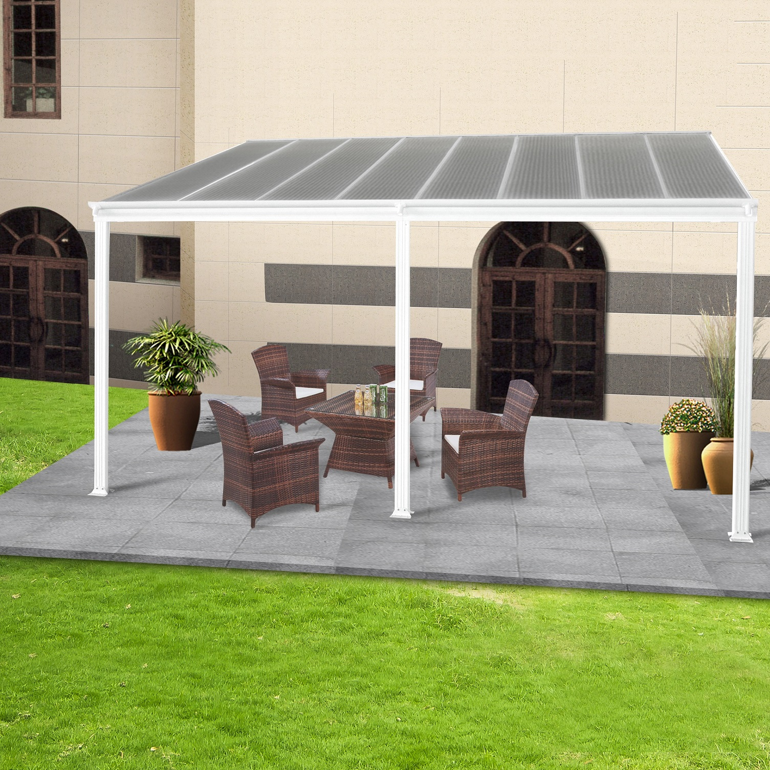 toit terrasse pergola 5x3 m en aluminium blanc abrirama. Black Bedroom Furniture Sets. Home Design Ideas