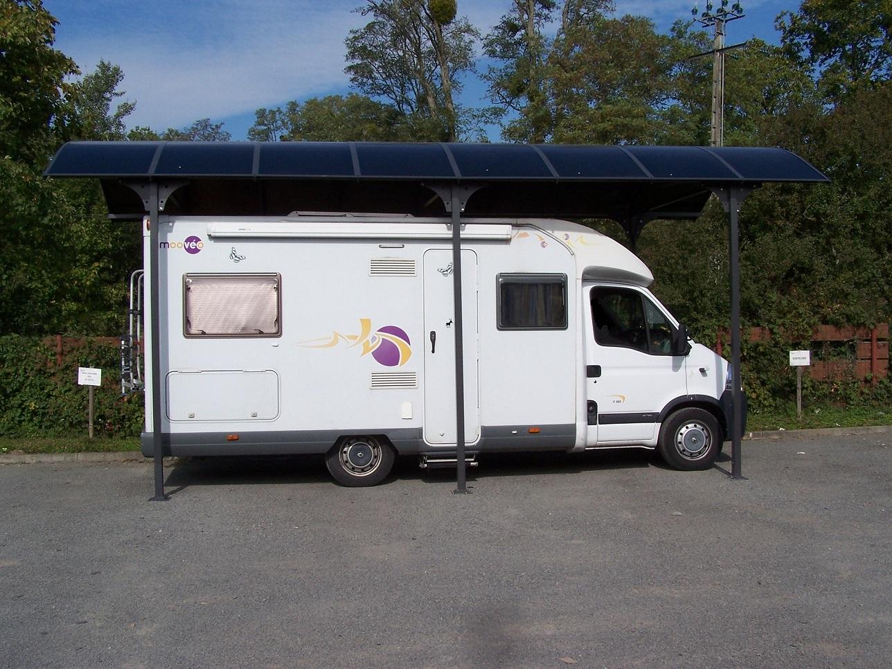Carport camping car en aluminium 3 60x7 60m 27 m2 for Abri garage camping car