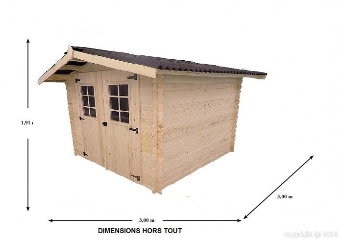 Abri de jardin bois atlantic 2 50x2 50 m epaisseur 20 mm for Abri de jardin 10m2 bois