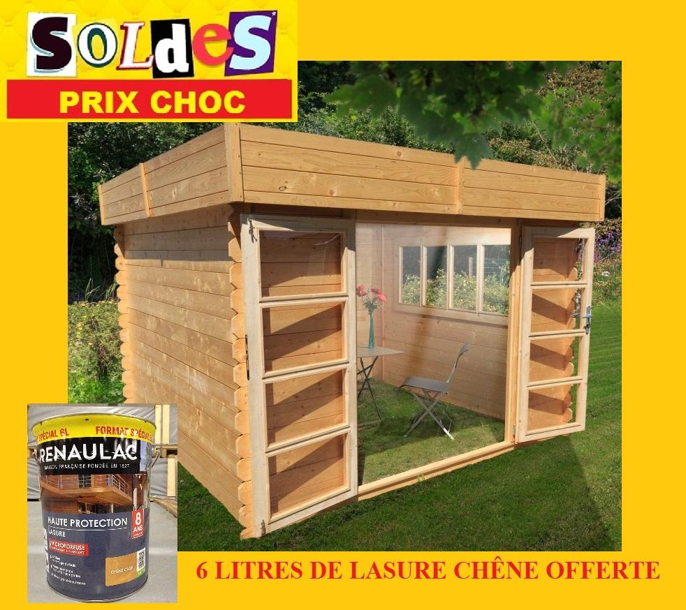 Abri de jardin toit plat soleil 3x3 m 6 l de lasure for Abris de jardin 3x3