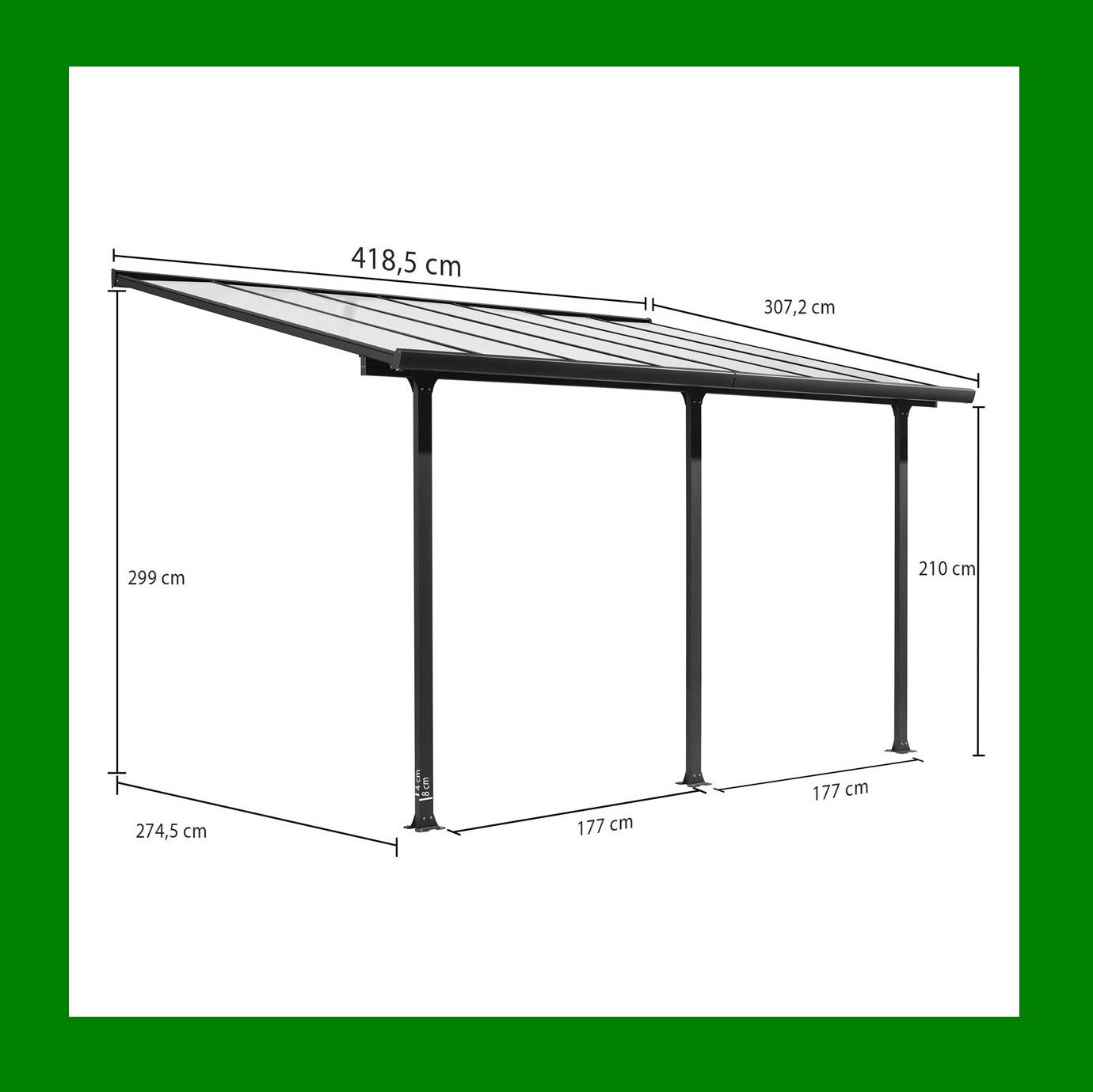carport toit terrasse en aluminium 4x3 m abrirama tt3042al l 39 abri de jardin. Black Bedroom Furniture Sets. Home Design Ideas