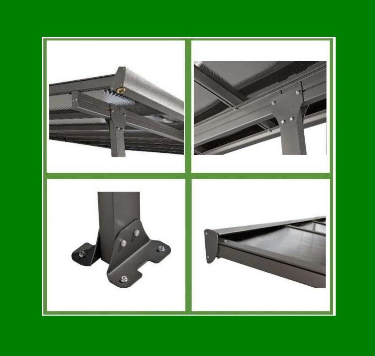 Carport toit terrasse en aluminium 4x3 m abrirama tt3042al l 39 abri de jardin - Toit terrasse aluminium ...