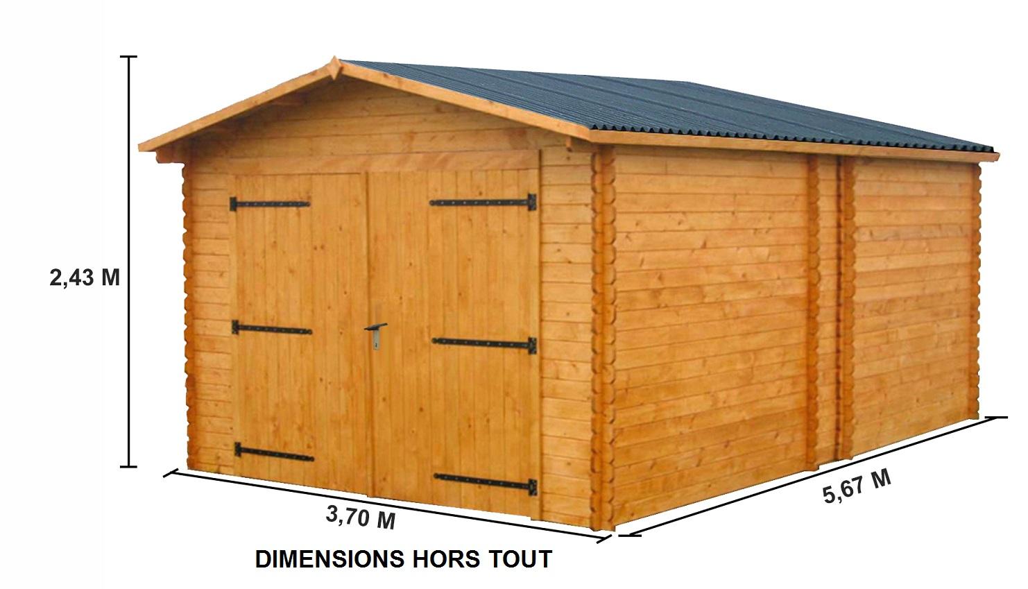 Carport bois 18m2 for Garage bois traite