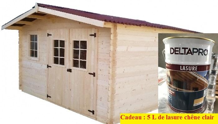 """Abri De Jardin En Bois """"Garlaban"""" 4X3 M Avec 5 L De Lasure Chêne"""