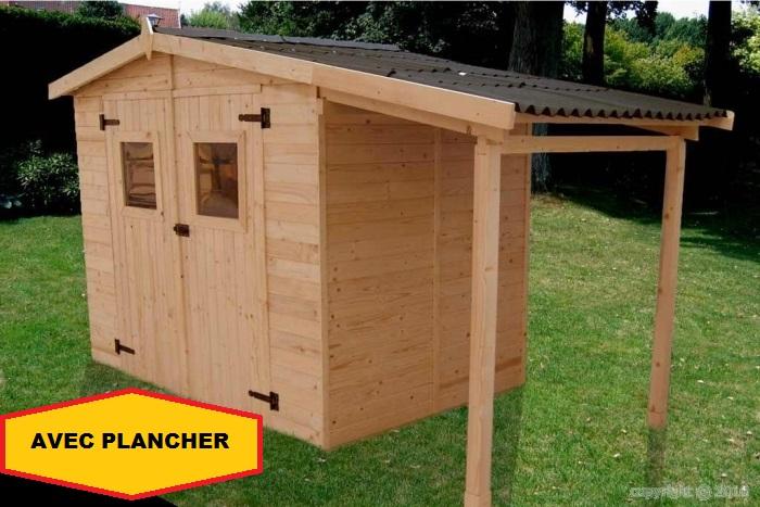 abri jardin bois bucher 3,48x1,87m 6.50m2 AVEC PLANCHER