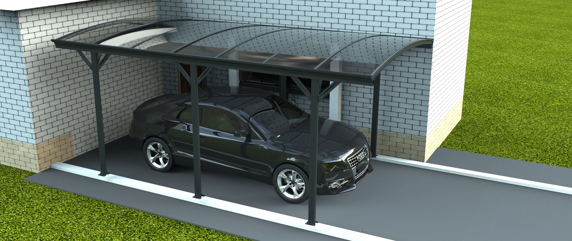 carport abri voiture 5x3 m anthracite abrirama cp7 abris de jardin bois carports camping car. Black Bedroom Furniture Sets. Home Design Ideas