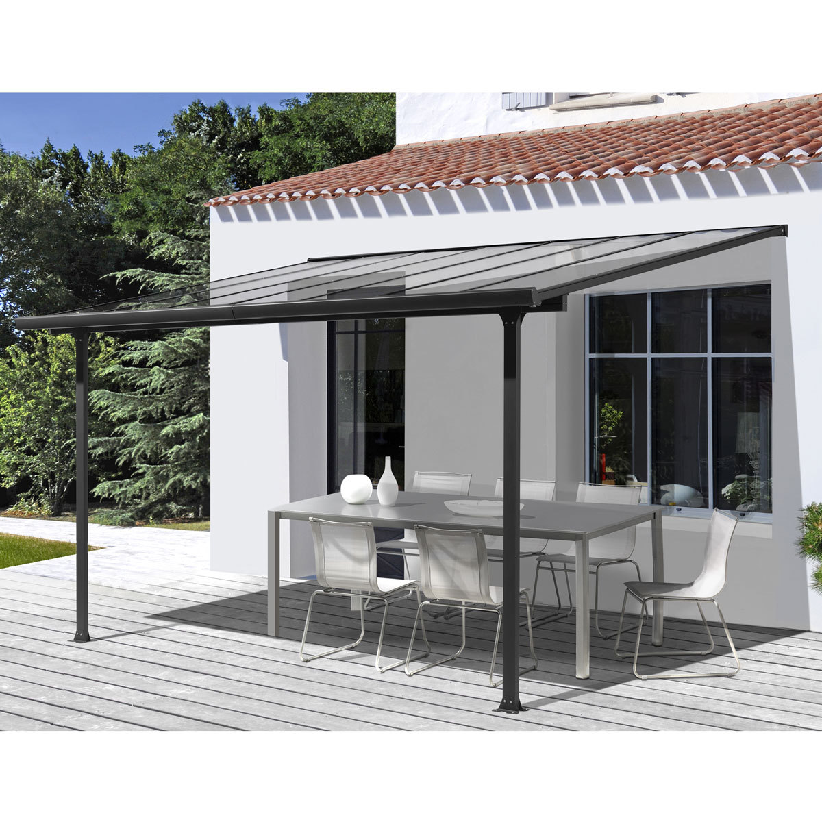 pergola en aluminium et polycarbonate 3x3 m abrirama. Black Bedroom Furniture Sets. Home Design Ideas